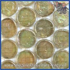 Glasmozaiek steentjes - Radiant Round Parelmoer - 18 mm - Enkele Kleuren - per 1 stuk - Tibet
