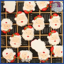 Cabochon hars plaksteen - Kerst - Platte onderkant - Unlimited edition - per 1 stuk - Kerstman hoofd