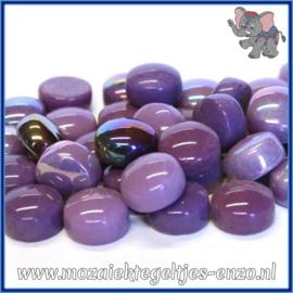 Glasmozaiek steentjes - Optic Drops Normaal en Parelmoer - 12 mm - Gemixte Kleuren - per 50 gram - Berry Satin