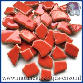 Keramische mozaiek steentjes - Keramiek Puzzel Stukjes Normaal - Enkele Kleuren - per 50 gram - Coral Red