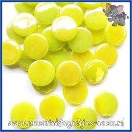 Glasmozaiek steentjes - Penny Rounds Parelmoer - 18 mm - Enkele Kleuren - per 50 gram - Daffodil Yellow