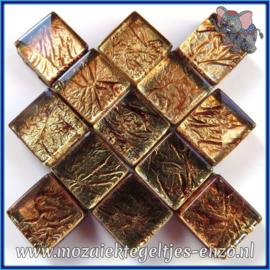 Glasmozaiek tegeltjes - Foil - 1 x 1 cm - Enkele Kleuren - per 50 gram - Mini Bronze