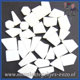 Glasmozaiek steentjes Snippets Puzzel Stukjes Normaal - Enkele Kleuren - per 50 gram - Opal White