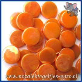 Glasmozaiek steentjes - Penny Rounds Parelmoer - 18 mm - Enkele Kleuren - per 50 gram - Orange Opal