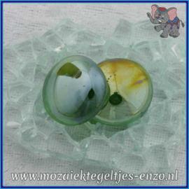 Glasmozaiek steentjes - Glasnuggets/Glasstenen Parelmoer - 18/22 mm - Enkele Kleuren - per 10 stuks - Dark Green Transparent Opalescent