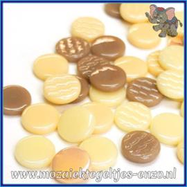 Glasmozaiek steentjes - Penny Rounds Normaal en Parelmoer - 18 mm - Gemixte Kleuren - per 50 gram - Irish Cream