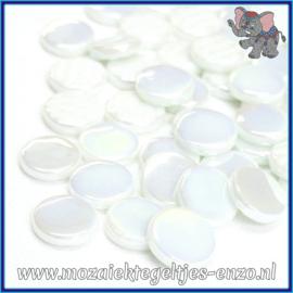 Glasmozaiek steentjes - Penny Rounds Parelmoer - 18 mm - Enkele Kleuren - per 50 gram - Opal White