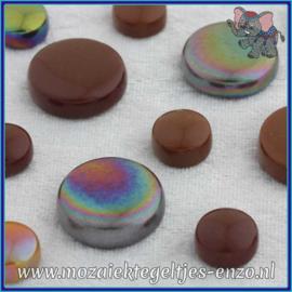 Glasmozaiek steentjes - Optic Drops Normaal en Parelmoer - 12 en 20 mm - Gemixte Kleuren - per 50 gram - Chocoluscious