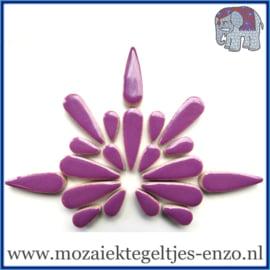 Keramische mozaiek steentjes - Keramiek Teardrops Druppels Normaal - 15 en 30 mm - Enkele Kleuren - per 50 gram - Pretty Purple