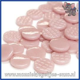 Glasmozaiek steentjes - Penny Rounds Normaal - 18 mm - Enkele Kleuren - per 50 gram - Rose Petal