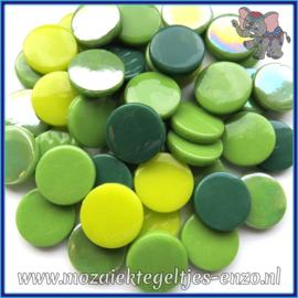 Glasmozaiek steentjes - Penny Rounds Normaal en Parelmoer - 18 mm - Gemixte Kleuren - per 50 gram - Green Snapper