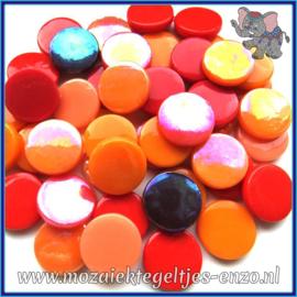Glasmozaiek steentjes - Penny Rounds Normaal en Parelmoer - 18 mm - Gemixte Kleuren - per 50 gram - Tequila Sunrise