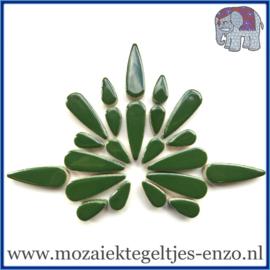 Keramische mozaiek steentjes - Keramiek Teardrops Druppels Normaal - 15 en 30 mm - Enkele Kleuren - per 50 gram - Pesto