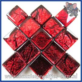 Glasmozaiek tegeltjes - Foil - 1 x 1 cm - Enkele Kleuren - per 50 gram - Mini Rose