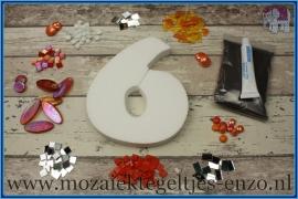 Mozaiek Kant & Klaar Pakket Piepschuim Huisnummer Groot - Cijfer 6 Oranje