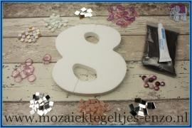 Mozaiek Kant & Klaar Pakket Piepschuim Huisnummer Groot - Cijfer 8 Roze