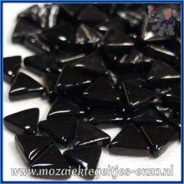 Glasmozaiek steentjes - Art Angles Normaal - 10 mm - Enkele Kleuren - per 50 gram - Black
