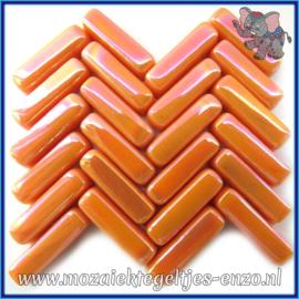 Glasmozaiek steentjes - Stix Rechthoekjes Staafjes Parelmoer - 6 x 20 mm - Enkele Kleuren - per 50 gram - Orange