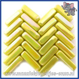 Glasmozaiek steentjes - Stix Rechthoekjes Staafjes Parelmoer - 6 x 20 mm - Enkele Kleuren - per 50 gram - Yellow