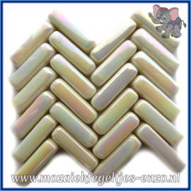 Glasmozaiek steentjes - Stix Rechthoekjes Staafjes Parelmoer - 6 x 20 mm - Enkele Kleuren - per 50 gram - Cream