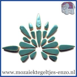 Keramische mozaiek steentjes - Keramiek Teardrops Druppels Normaal - 15 en 30 mm - Enkele Kleuren - per 50 gram - Phthalo Green