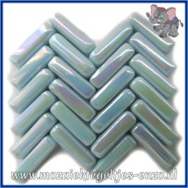 Glasmozaiek steentjes - Stix Rechthoekjes Staafjes Parelmoer - 6 x 20 mm - Enkele Kleuren - per 50 gram - Aqua