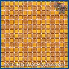 Glasmozaiek tegeltjes - Glitter - 1 x 1 cm - Gemixte Kleuren - per 60 steentjes - Mini Copper Gold