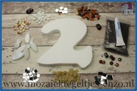 Mozaiek Kant & Klaar Pakket Piepschuim Huisnummer Groot - Cijfer 2 Bruin