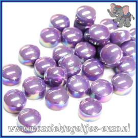 Glasmozaiek steentjes - Optic Drops Parelmoer - 12 mm - Enkele Kleuren - per 50 gram - Lavender