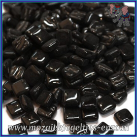 Glasmozaiek Pixel steentjes - Ottoman Normaal - 0,8 x 0,8 cm - Enkele Kleuren - per 50 gram - Black Opal