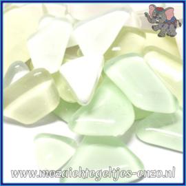Glasmozaiek steentjes - Soft Glass Puzzles Normaal - Gemixte Kleuren - per 50 gram - White Baby`s Breath
