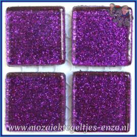 Glasmozaiek tegeltjes - Glitter - 2 x 2 cm - Enkele Kleuren - per 20 steentjes - Emperor Purple