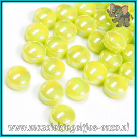 Glasmozaiek steentjes - Optic Drops Parelmoer - 12 mm - Enkele Kleuren - per 50 gram - Yellow Green