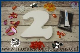 Mozaiek Kant & Klaar Pakket Piepschuim Huisnummer Groot - Cijfer 2 Oranje