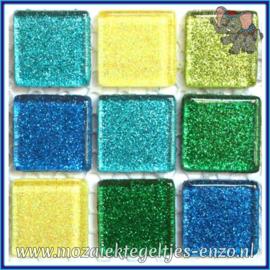 Glasmozaiek tegeltjes - Glitter - 2 x 2 cm - Gemixte Kleuren - per 20 steentjes - Rainbow Ice