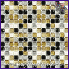 Glasmozaiek tegeltjes - Glitter - 1 x 1 cm - Gemixte Kleuren - per 60 steentjes - Mini Yin and Yang