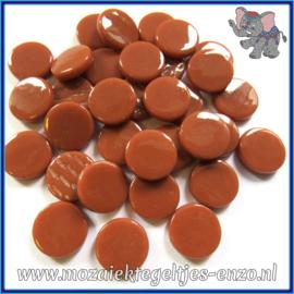 Glasmozaiek steentjes - Penny Rounds Normaal - 18 mm - Enkele Kleuren - per 50 gram - Chestnut