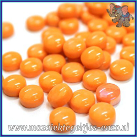 Glasmozaiek steentjes - Optic Drops Normaal - 12 mm - Enkele Kleuren - per 50 gram - Opal Orange