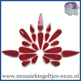 Keramische mozaiek steentjes - Keramiek Teardrops Druppels Normaal - 15 en 30 mm - Enkele Kleuren - per 50 gram - Merlot