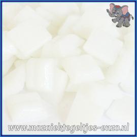 Glasmozaiek tegeltjes - Basic Line - 1 x 1 cm - Enkele Kleuren - per 60 steentjes - Mini Iced White A02