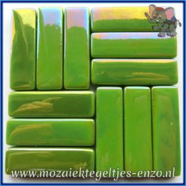Glasmozaiek steentjes - Stix Rechthoekjes Staafjes XL Parelmoer - 12 x 38 mm - Enkele Kleuren - per 50 gram - New Green