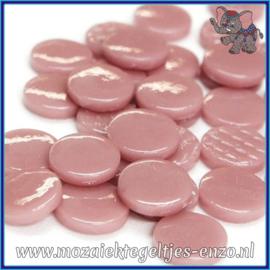 Glasmozaiek steentjes - Penny Rounds Normaal - 18 mm - Enkele Kleuren - per 50 gram - Dark Rose