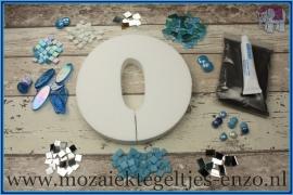 Mozaiek Kant & Klaar Pakket Piepschuim Huisnummer Groot - Cijfer 0 Blauw