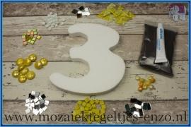 Mozaiek Kant & Klaar Pakket Piepschuim Huisnummer Groot - Cijfer 3 Geel