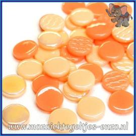 Glasmozaiek steentjes - Penny Rounds Normaal en Parelmoer - 18 mm - Gemixte Kleuren - per 50 gram - Peach Schnapps