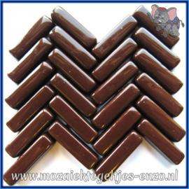 Glasmozaiek steentjes - Stix Rechthoekjes Staafjes Normaal - 6 x 20 mm - Enkele Kleuren - per 50 gram - Opulent Brown