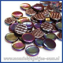 Glasmozaiek steentjes - Penny Rounds Parelmoer - 18 mm - Enkele Kleuren - per 50 gram - Merbau