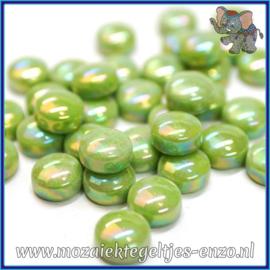 Glasmozaiek steentjes - Optic Drops Parelmoer - 12 mm - Enkele Kleuren - per 50 gram - New Green