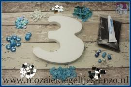 Mozaiek Kant & Klaar Pakket Piepschuim Huisnummer Groot - Cijfer 3 Blauw