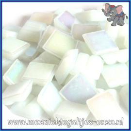 Glasmozaiek tegeltjes - Parelmoer - 1 x 1 cm - Enkele Kleuren - per 60 steentjes - Mini White Diamond